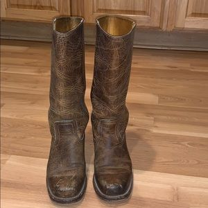 Frye earth brown  leather pull on boots size 7.5